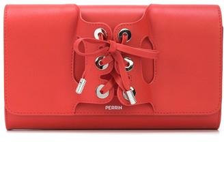 Perrin Paris lace-up detail clutch bag
