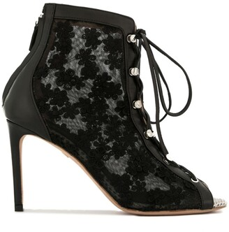Giambattista Valli lace detail open-toe boots