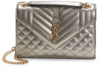 Saint Laurent Medium Envelope Monogram Matelasse Metallic Leather Shoulder Bag