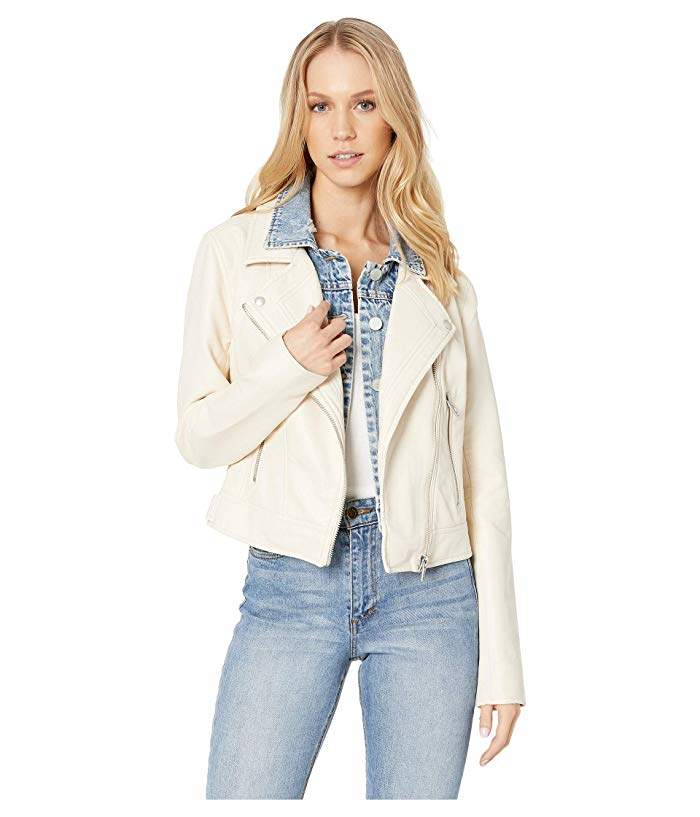 17656884b White Vegan Leather Jacket with Denim Insert in Ghost Town