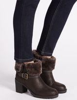 Marks and Spencer Block Heel Faux Fur Ankle Boots