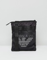 Armani Jeans Mesh Logo Flight Bag in Black