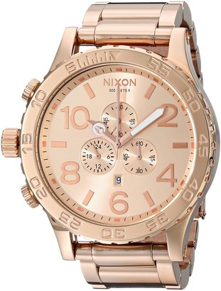 Nixon 51-30 Chrono. 100m Water Resistant Mens Watch (XL 51mm Watch Face/ 25mm Rose Gold Stainless Steel Band)