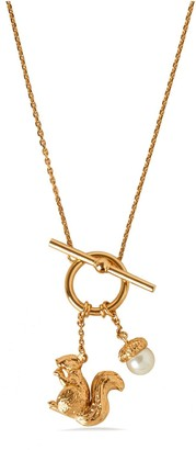 Mulberry Secret Garden Squirrel Necklace Gold Glass and Brass
