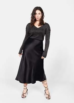 MANGO Violeta BY Puffed sleeves lurex sweater copper - XS - Plus sizes