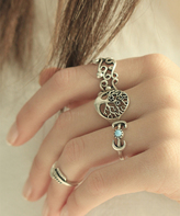 Nautilus Light Blue & Silvertone Tree Ring Set