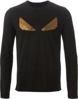Fendi Bug print long sleeved T-shirt - men - Cotton/Crystal - 52