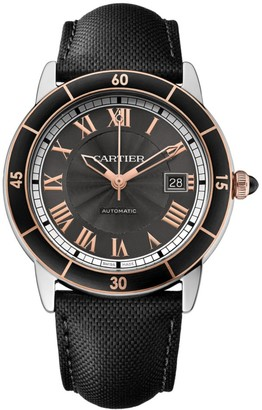 Cartier Ronde Croisiere de Automatic 18K Pink Goldplated, Stainless Steel & Leather Strap Watch