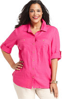 Charter Club Plus Size Shirt, Three-Quarter-Sleeve Textured