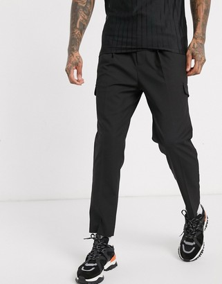 ASOS DESIGN smart tapered trousers with cargo pockets in black and elasticated waist