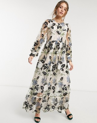 Sister Jane Dream sheer maxi dress with floral sequin embellishment in multi