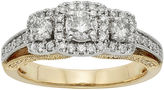 JCPenney MODERN BRIDE 1 CT. T.W. Certified Diamond 14K Two-Tone Gold 3-Stone Bridal Ring