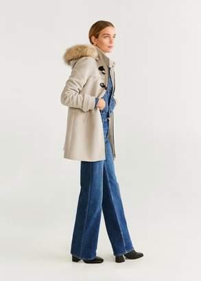 MANGO Faux fur hooded coat ecru - XXS - Women