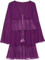 Roberto Cavalli Lace-trimmed Tiered Silk-georgette Mini Dress - Violet
