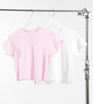 Daisy Street 2 pack raw hem cropped T-shirt in white and baby pink
