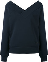 Burberry open V-neck sweatshirt - women - Cotton/Polyester - M