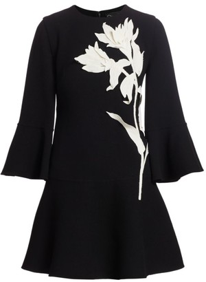 Oscar de la Renta Embroidered Floral Flutter-Sleeve Dress