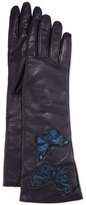 Valentino Napa Leather Butterfly Embroidered Gloves, Marine