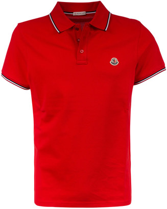 Moncler Stripe Trimmed Logo Patched Polo Shirt