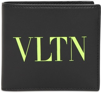 Valentino Fluo Logo Print Leather Wallet
