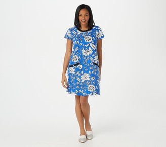 Susan Graver Weekend Printed French Terry Dress with Rib Trim