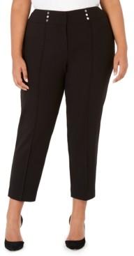Kasper Plus Size Button-Detail Dress Pants