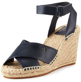 Tory Burch Bima Leather Wedge Espadrille Sandal, Bright Navy