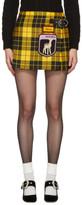 Miu Miu Yellow Tartan Pleated gene Miniskirt