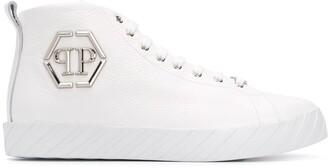 Philipp Plein Logo Plaque High-Top Sneakers