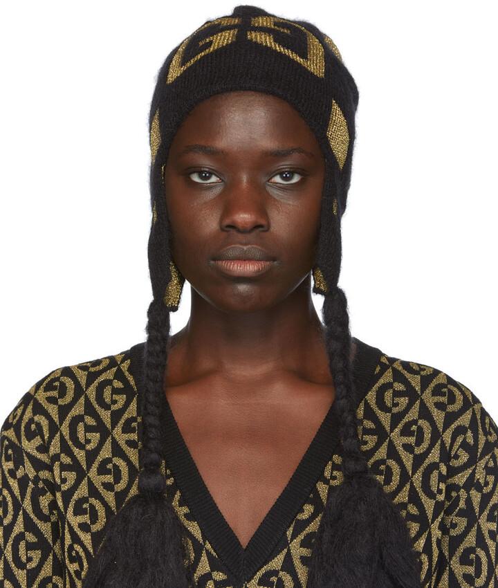 Gucci Black & Gold Knit GG Pompom Beanie