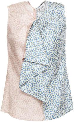 Lanvin Ruffled Floral-print Silk-twill Top