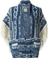 Laneus studded fringed cardigan