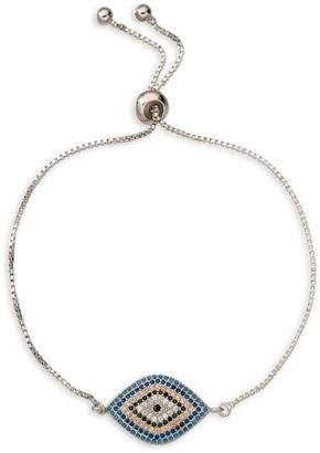Eye Candy La Luxe Rhodium-Plated & Multicolor Cubic Zirconia Evil Eye Charm Bracelet