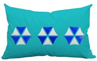 Positively Home Umbrella Trio Graphic Indoor/Outdoor Lumbar Pillow Color: Blue