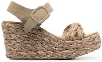 Pedro Garcia Destiny braided raffia wedge sandals