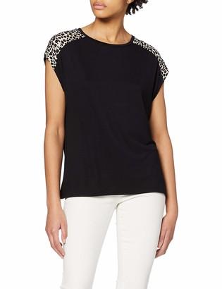 Dorothy Perkins Women's Black Turnback Cuff Print Shoudler Tee T-Shirt 6