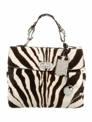 Ralph Lauren Collection Pony Hair Animal Print Handle Bag Silver