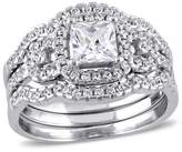 2 1/5 CT. T.W. Square Cubic Zirconia Halo Bridal Set in Sterling Silver