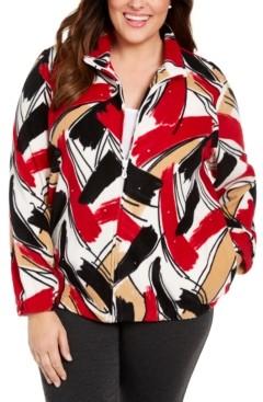 Alfred Dunner Plus Size Classics Brushstroke-Print Fleece Zip-Front Jacket