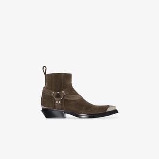 Balenciaga Brown Santiago buckled suede cowboy boots