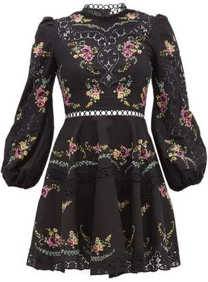 Zimmermann Allia Floral Cross-stitch Linen-blend Mini Dress - Womens - Black