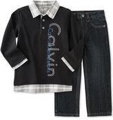 Calvin Klein Little Boys' 2Pc Knit Woven Set