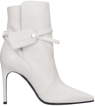 Off-White Off White High Heels Ankle Boots In White Leather