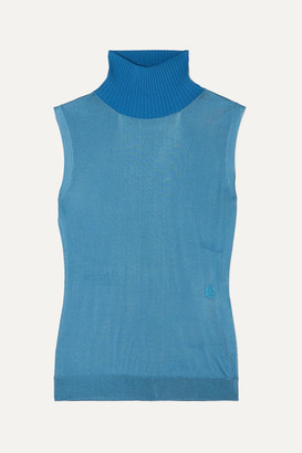 Chloé Wool-trimmed Knitted Turtleneck Sweater - Blue