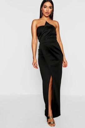 boohoo Bandeau Wrap Detail Split Maxi Dress