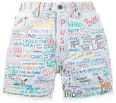 Faith Connexion hand-painted graffiti denim shorts