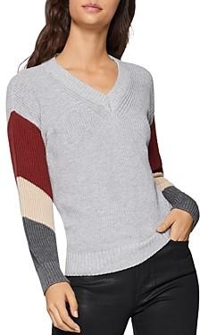 BCBGeneration Striped-Sleeve Sweater