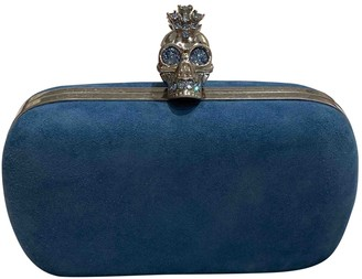 Alexander McQueen Skull Blue Suede Clutch bags