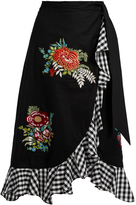 House of Holland Floral-embroidered ruffle-trimmed cotton skirt