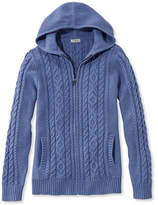 L.L. Bean Double L Mixed-Cable Sweater, Zip-Front Hoodie